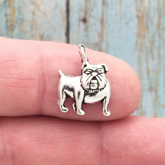 10 Bulldog charms antique silver tone A887