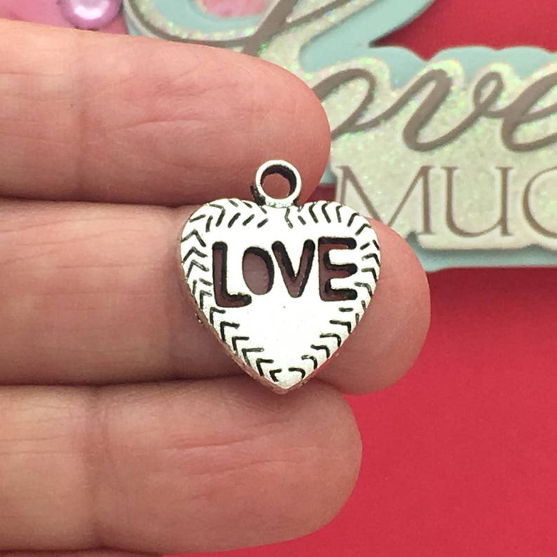 BULK 25 Love Heart Charm Silver by TIJC SP0646B