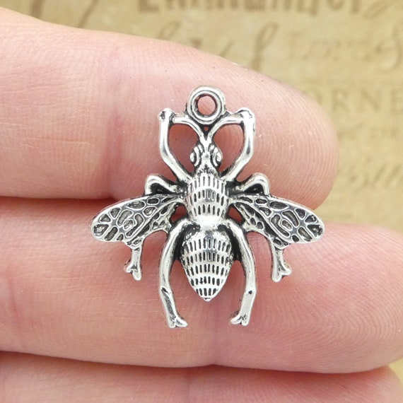 BULK 20 Bee and honeycomb charms silver tone A378
