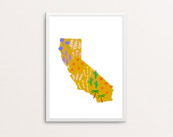 California State Wildflower and Plants Floral Print 8x10