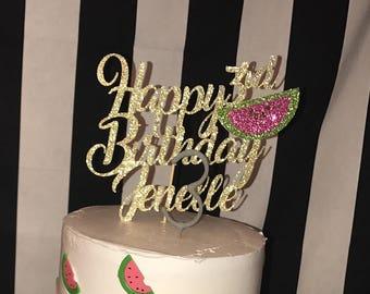 watermelon cake topper, watermelon birthday cake topper, watermelon birthday, watermelon, birthday cake topper, watermelon cake topper