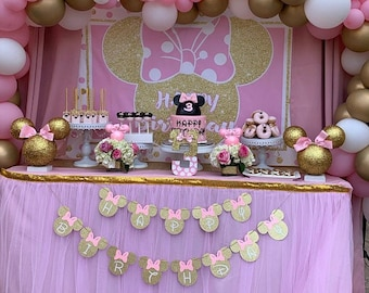 Minnie mouse birthday banner. Minnie Mouse birthday decorations, Minnie Mouse Happy Birthday Banner, Birthday Banner, Minnie Mouse, DIY