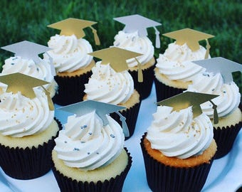 Graduation cupcake toppers, Graduation Party, Party Decor, Graduation Decorations, Graduation, Class of 2017 , Set of 12, 2017