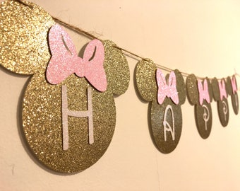 Minnie Mouse Birthday Banner Decorations Happy