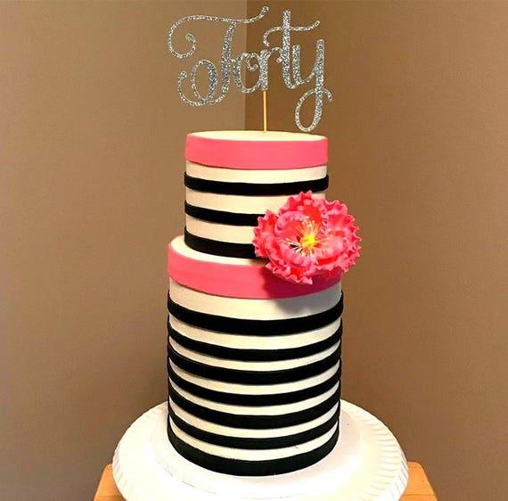Czterdziestu Topper Tort 40 Urodziny Dekoracje Czterdzieści Etsy