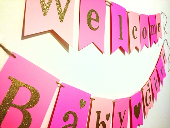 welcome baby girl banner welcome baby banner welcome girl etsy