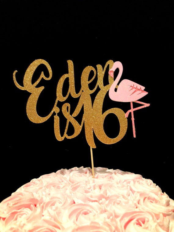 Astonishing Flamingo Birthday Flamingo Cake Topper Birthday Cake Topper Etsy Personalised Birthday Cards Bromeletsinfo