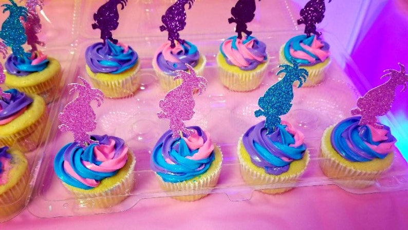 Troll Cupcake Toppers Birthday Cupcakes