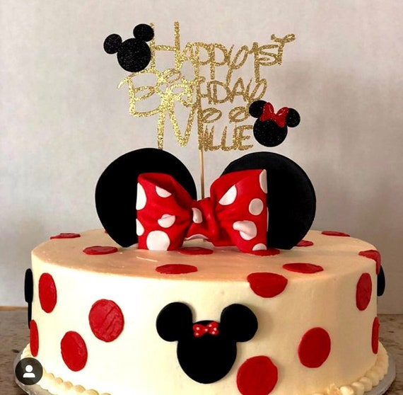 Fantastic Minnie Mouse Cake Topper Birthday Cake Topper Mickey Mouse Etsy Funny Birthday Cards Online Fluifree Goldxyz