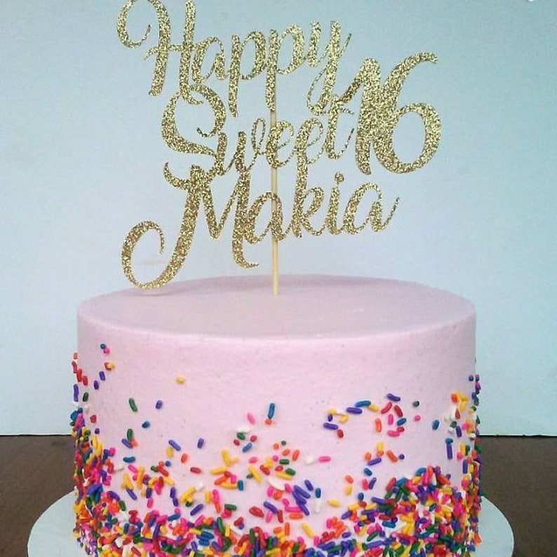 Sweet 16 Cake Topper Party Decorations Personalized 16th Birthday