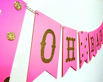 Oh Baby Banner, Baby shower banner, Baby Banner, New Baby Banner, Pink and gold baby banner, Pink and Gold, Oh Baby, Shower Banner