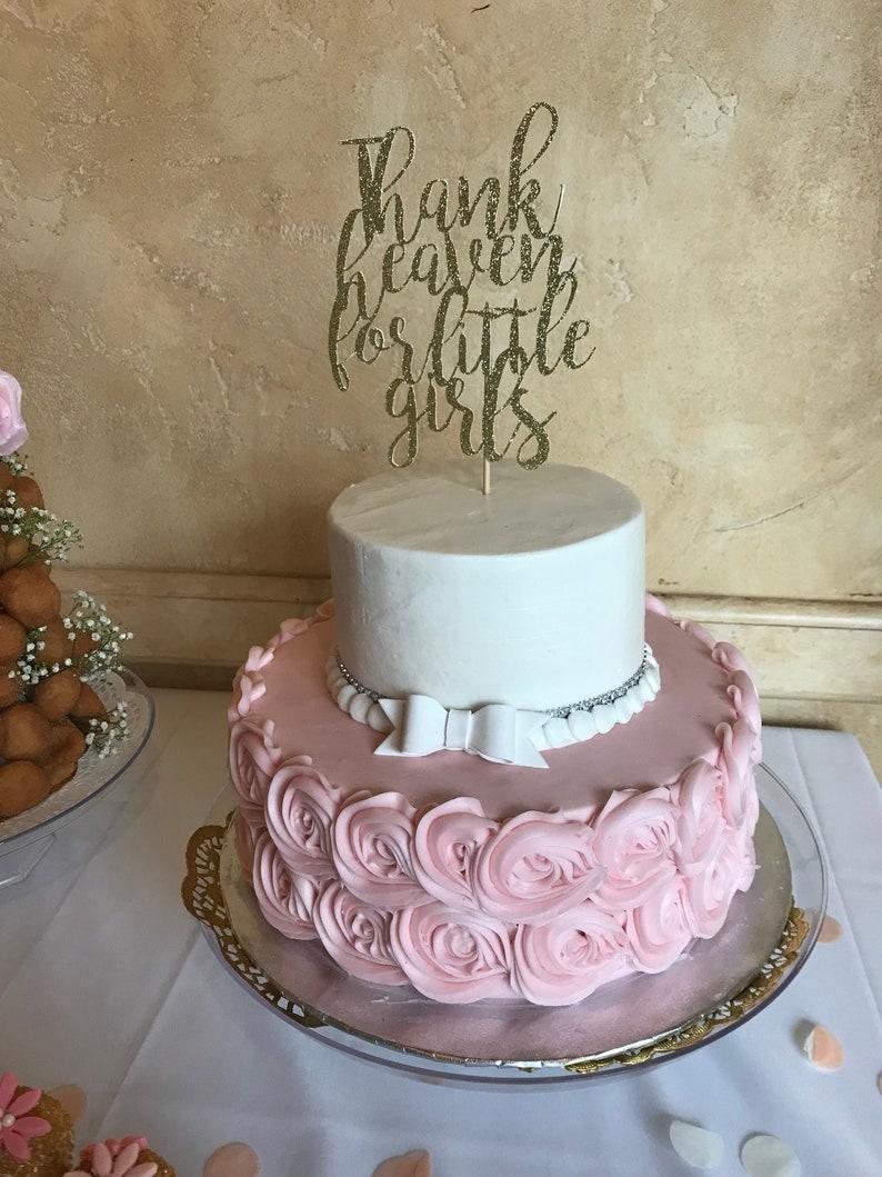 Thank Heaven For Little Girls Baby Shower Cake Topper