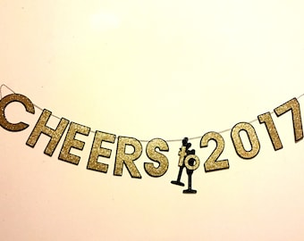 New Years Banner, New Years Eve decorations, New Years 2017, 2017, Cheers to 2017, Cheers, New Years Eve Banner, New Years
