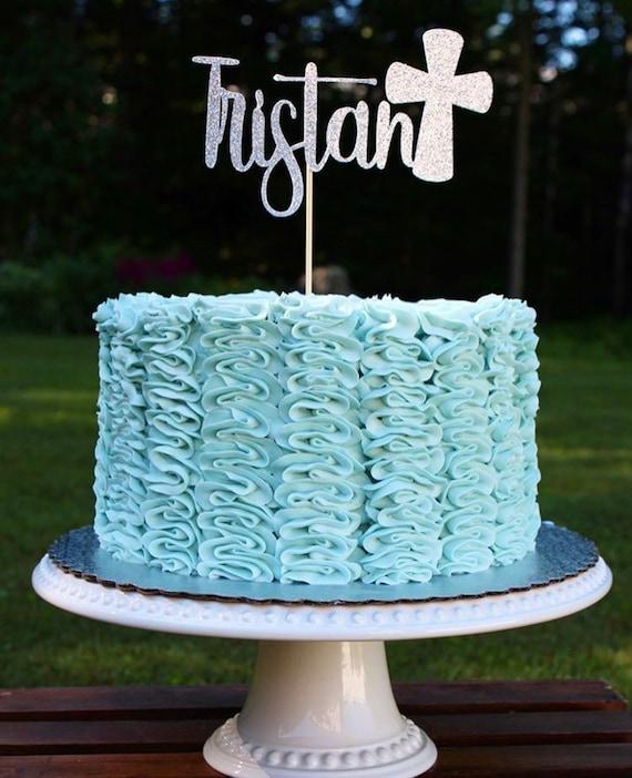 Baptism Cake Topper Atelier Elegance ANY NAME Confirmation Cake Topper God Bless Cake Topper