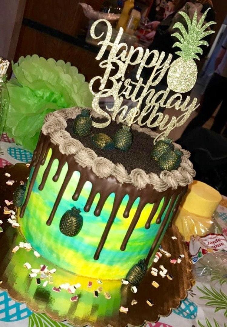 Pineapple Cake Topper Pineapple Birthday Cake Topper Etsy