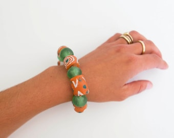 Ghanian Krobo + Clay Beaded Bracelet