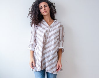 Striped Earth Linen Blouse