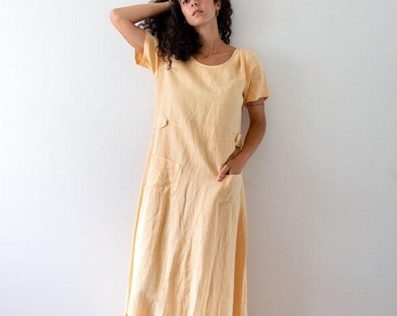 Peach Linen Maxi Gown
