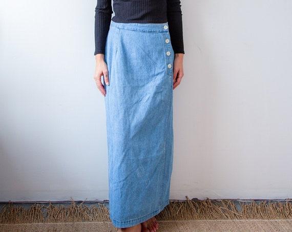 Simple Vintage Denim Wrap Skirt