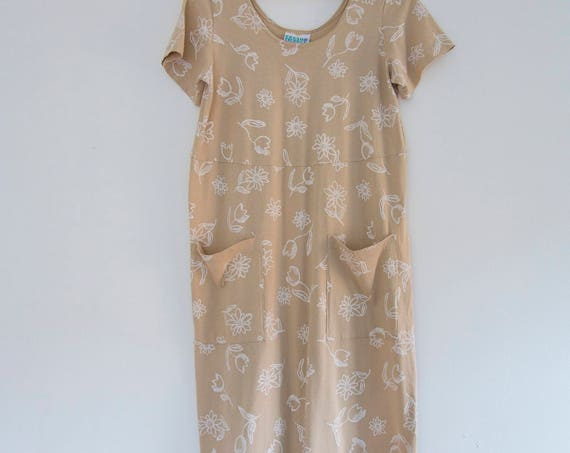 Sand Flower Cotton Maxi Dress
