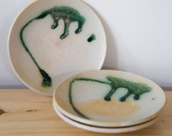 Green Abstraction Handmade Plates - Set of 3