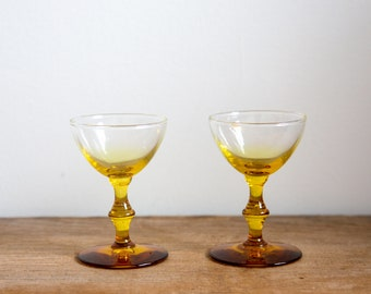 Canary Yellow Vintage Glass Liqueur Set