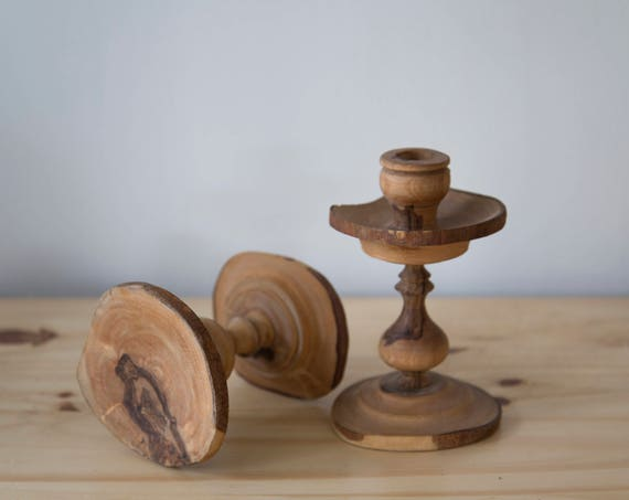 Hand Carved Wooden Candle Holders
