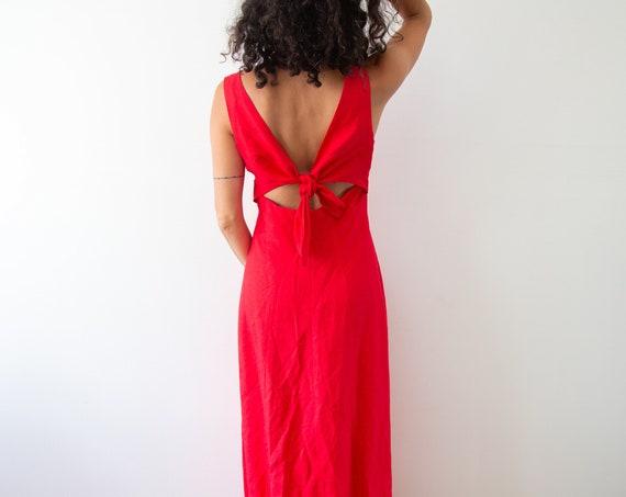 Rising Sun Linen Maxi Gown