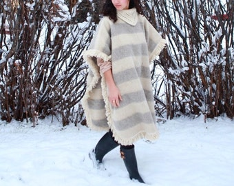 Striped Caterpillar Wool Poncho