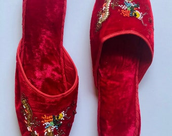 Cherry Red Dragon Slippers