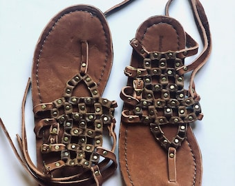 Handmade Greek Leather Sandals - size 38