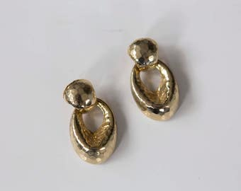 Hammered Gold Drop Ear Studs