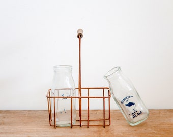 Vintage Milk Glasses with French Wire Carrier Crate