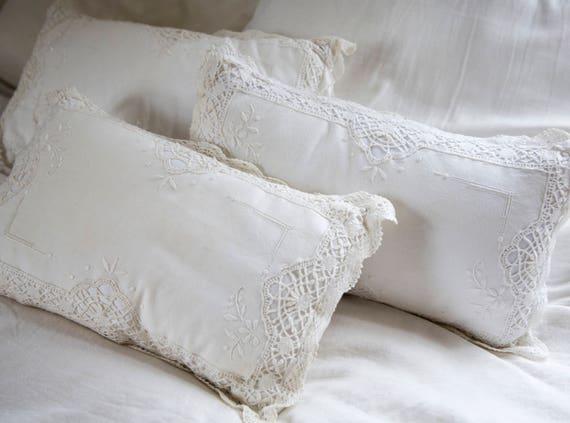 Vintage White Cotton Throw Pillows