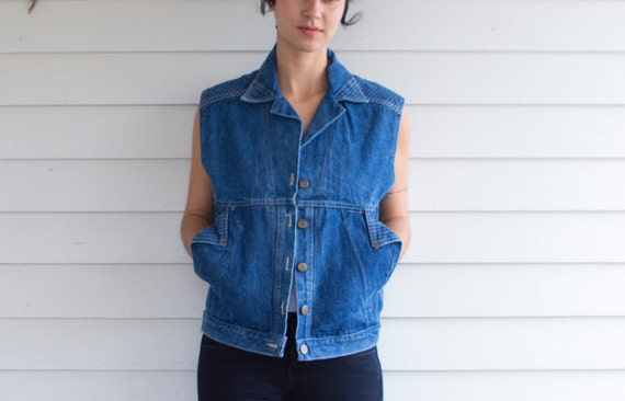 SALE - Origami Denim Button Up Sleeveless Vest