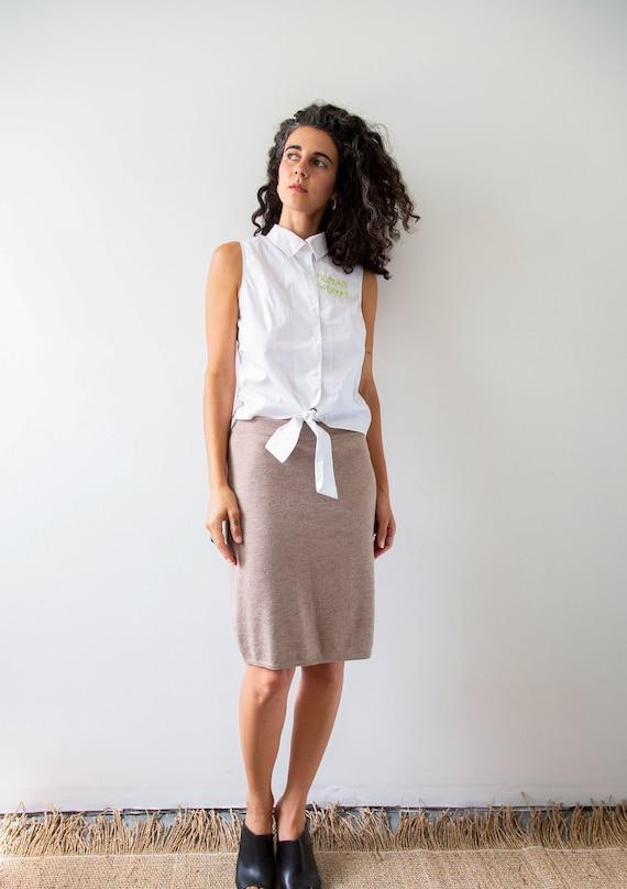 Business Casual Natural Knit Skirt