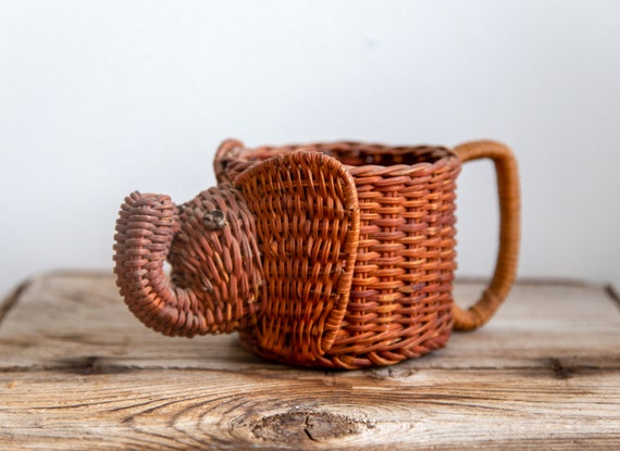 Handmade Woven Elephant Mug Planter