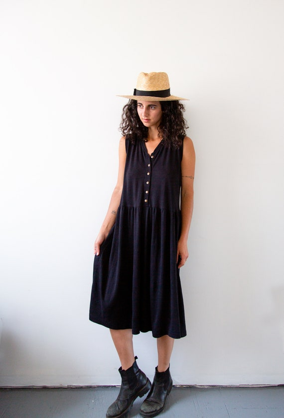 Black Tree Drop Waist Dress