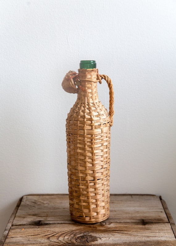 Vintage Glass Bottle with Woven Carrier