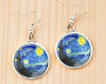 Starry night Vincent Van Gogh painting earrings art gift idea birthday christmas studs