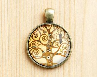 Tree of life Gustav Klimt round pendant painting charm