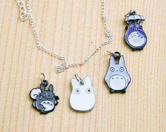 Totoro anime pendant charm necklace grey blue white miyazaki