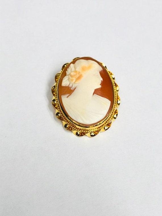 Vintage 10 karat yellow gold cameo pin