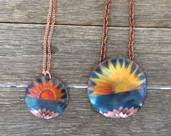 Copper Flame Fainted Ocean Sunset Necklace