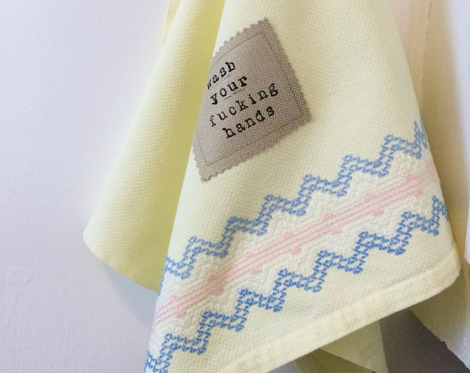 Featured listing image: Vintage Yellow Hand Towel, Wash Your Fucking Hands
