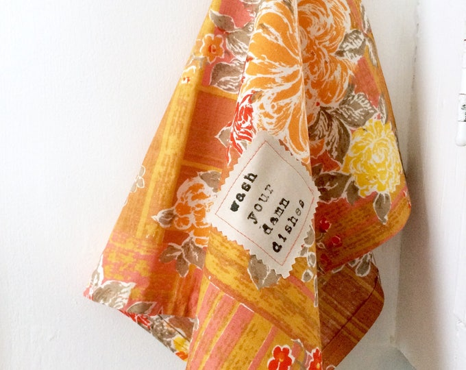 Featured listing image: Vintage Orange Floral Fabric Hand Towel