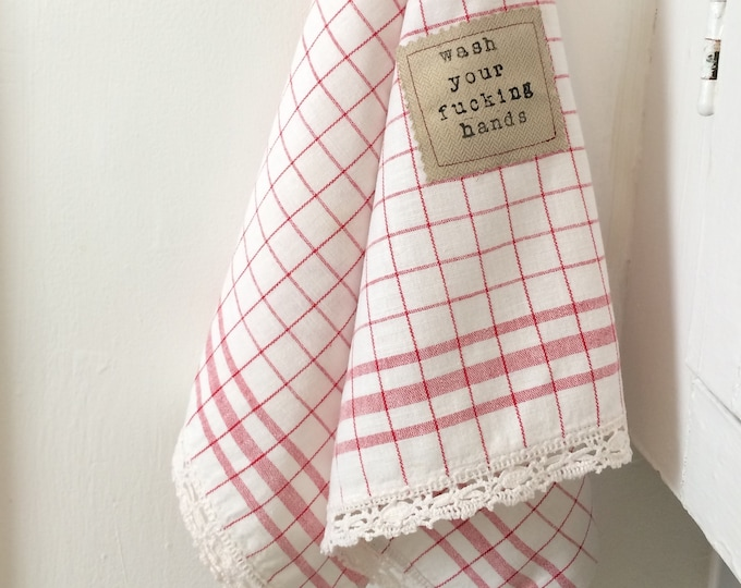 Featured listing image: Vintage Red and White Checkered Hand Towel, Wash Your Fucking Hands