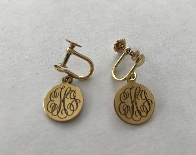Featured listing image: Monogrammed EJH 12K Gold Filled Earrings