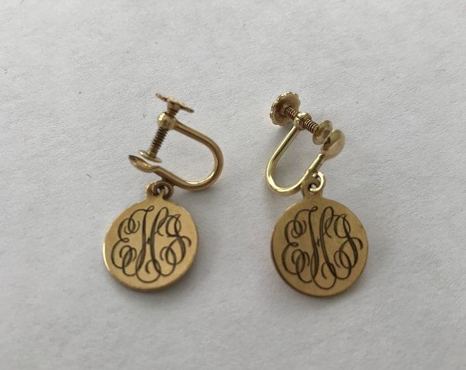 Monogrammed EJH 12K Gold Filled Earrings