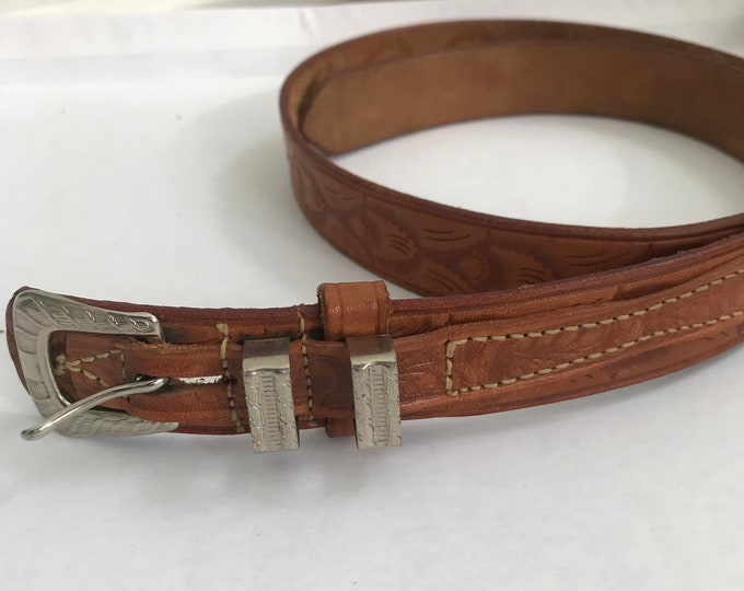 Vintage Western Brown Leather Belt with Silver Hardware and Embossing